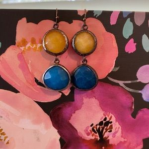 Yellow and Blue Anthro Drop Earrings